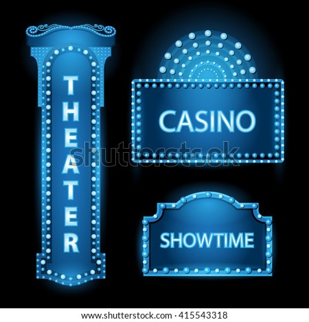 Brightly blue theater glowing retro cinema neon sign - stock vector