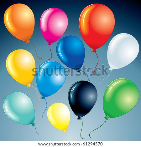 Brightly celebrating party balloons for your design project, vector set