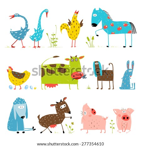 Brightly Colored Fun Cartoon Farm Domestic Animals Collection for Kids. Countryside amusing vivid cottage baby animals illustration for children. Vector EPS10. - stock vector