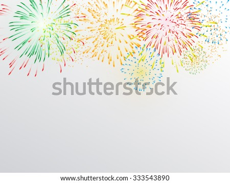 Brightly Colorful Fireworks on white gray background - stock vector