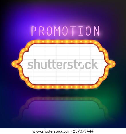 Brightly glowing retro american advertising signpost. Can use for promotion banner. Vector illustration. - stock vector