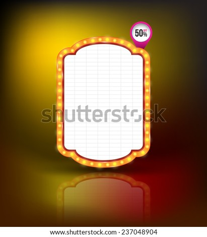 Brightly glowing retro banner. Retro Banner Promotion. Theatre cinema board style. Vector illustration. - stock vector