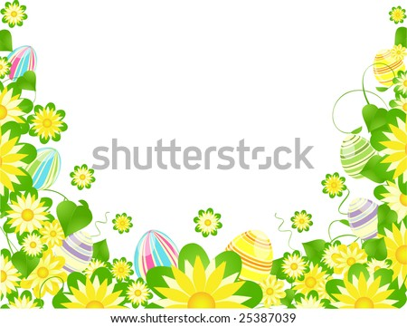 brightly painted easter eggs hidden among spring flowers
