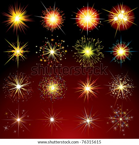 Brightly Stars, Flashes, Fireworks, Sparks and Flares variation - isolated vector design elements - stock vector