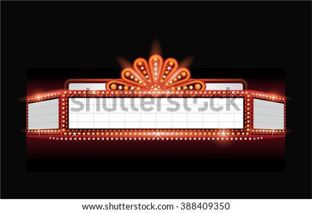 Brightly theater glowing retro cinema neon sign - stock vector