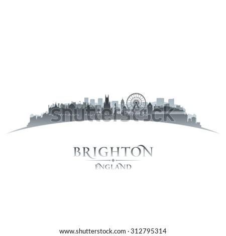 Brighton England city skyline silhouette. Vector illustration - stock vector