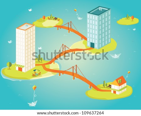 Brights isometric skyscrapers in the ocean - stock vector