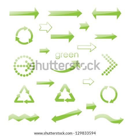 brilliance eco green arrows. vector set eps10 - stock vector