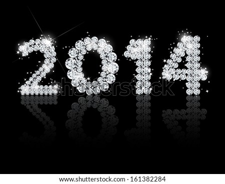 Brilliant text for the new year 2014. Vectorillustration  - stock vector