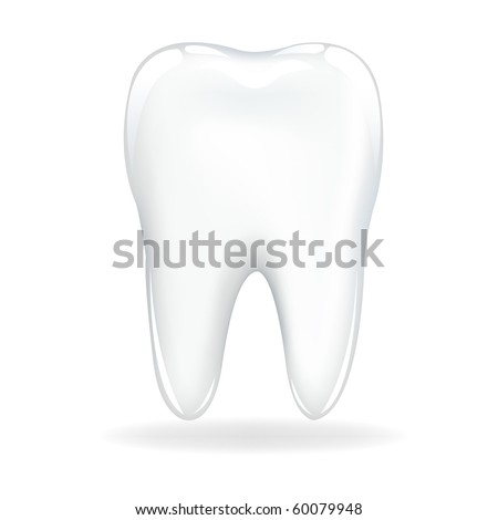 Brilliant Tooth, Isolated On White Background, Vector Illustration - stock vector