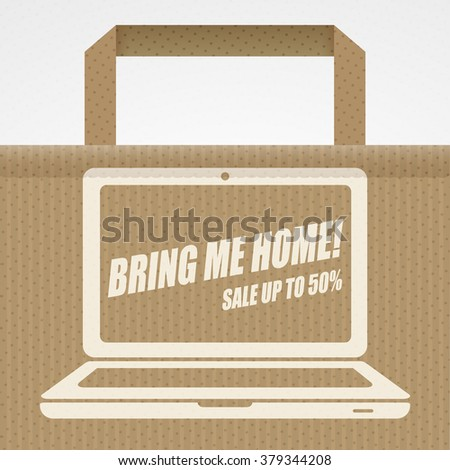 Bring me home! - sale banner with laptop icon and shopping bag. Sale background. Big sale. Sale tag. Sale poster. Sale vector. Super Sale and special offer. 50% off. - stock vector