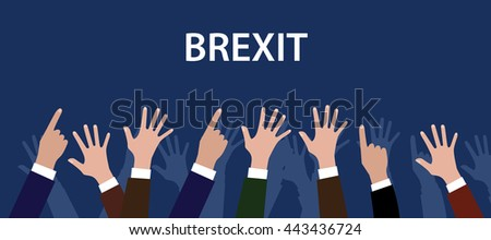 britain british exit from europe with hand raise to give vote vector graphic illustration
