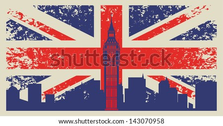 Britain flag and Big Ben in London - stock vector