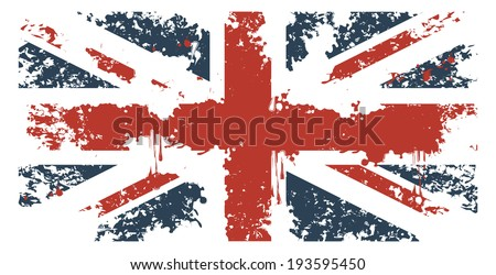 Britain flag with grunge texture - stock vector