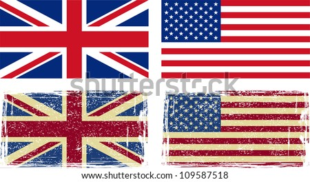 British and American flags. Vector illustration - stock vector