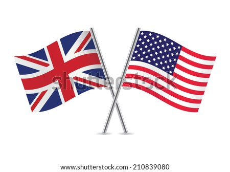 British and American flags. Vector illustration. - stock vector