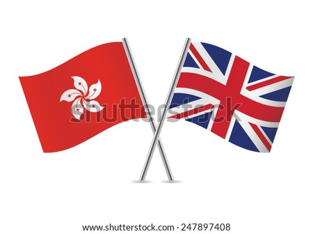 British and Hong Kong flags. Vector illustration. - stock vector