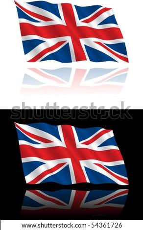 British Flag Flowing - stock vector