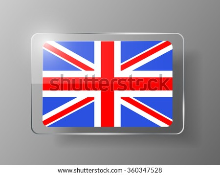 British Flag Glossy Button. Vector illustration. - stock vector