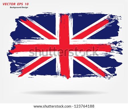 british flag grunge british flag With brush stroke watercolor, Vector illustration - stock vector