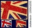 British flag grunge, retro series. White vector - stock
