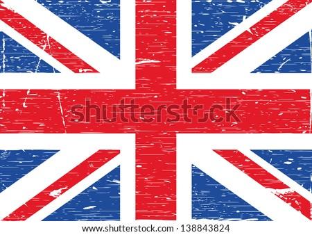 British flag grunge. Vector illustration - stock vector