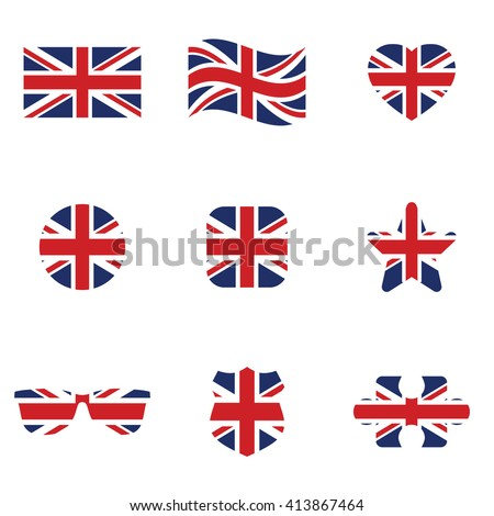 British flag icon set . Vector illustration - stock vector