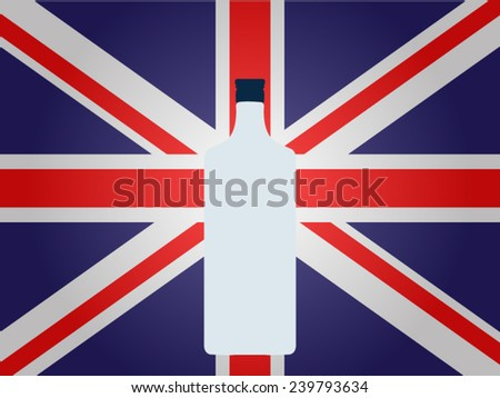 British Flag with a Bottle of Gin EPS10