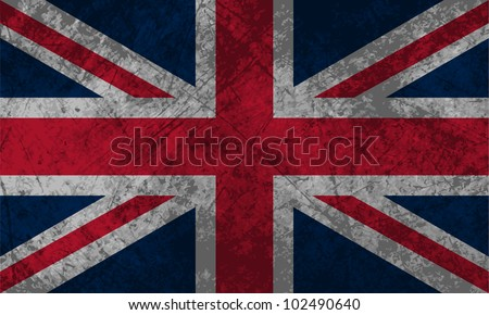 British Flag with a grunge texture effect. - stock vector