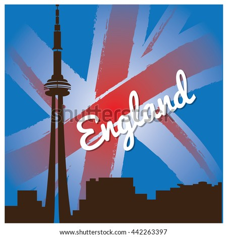 British graphic design, vector illustration, skyline