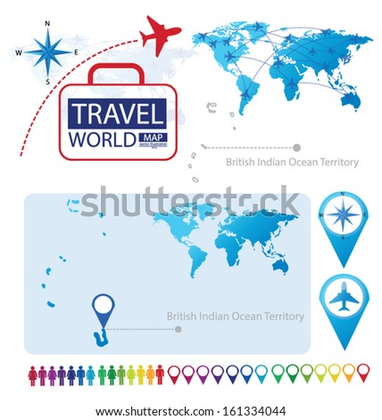 British Indian Ocean Territory. World Map. Travel vector Illustration. - stock vector
