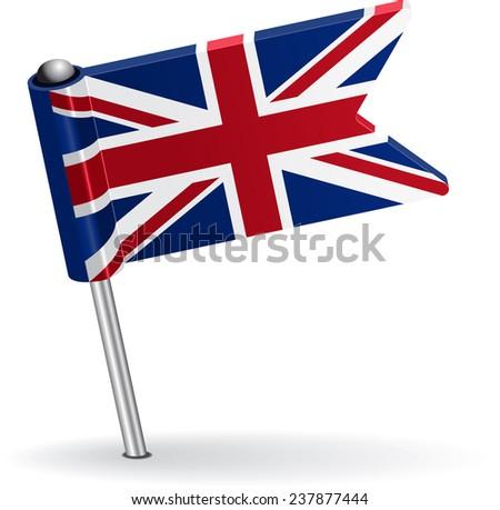 British pin icon flag. Vector illustration Eps 8. - stock vector