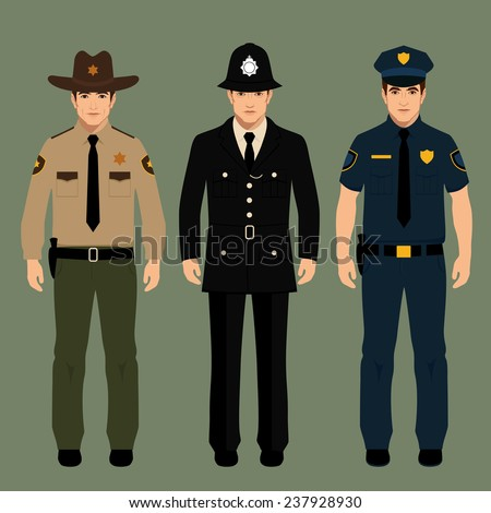 british policeman and sheriff uniform, vector police officers people, profession vector illustration  - stock vector