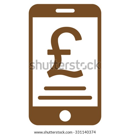 British Pound Mobile Payment vector icon. Style is flat brown symbol, rounded angles, white background.