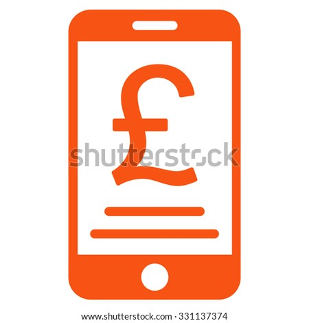 British Pound Mobile Payment vector icon. Style is flat orange symbol, rounded angles, white background.