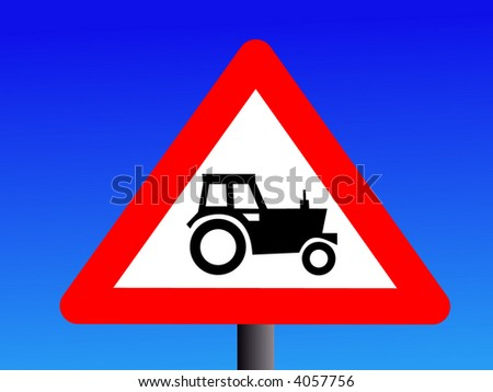 british warning tractor sign on blue