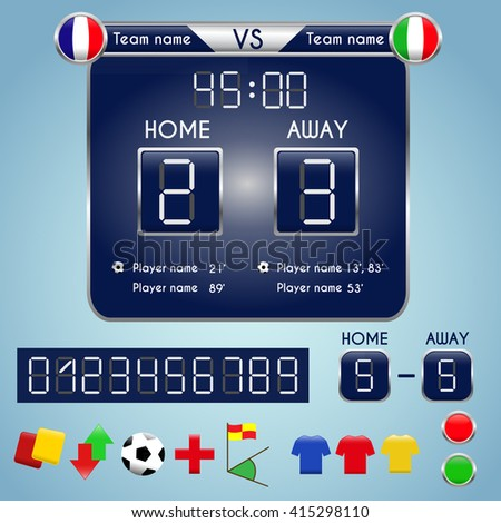 Broadcast graphic for football final score. Football Soccer Match Statistics. Scoreboard and football Infographic with numbers and elements. Digital background vector illustration.  - stock vector