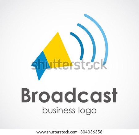 Broadcast loud speaker abstract vector logo design template business information icon corporate company identity symbol concept - stock vector