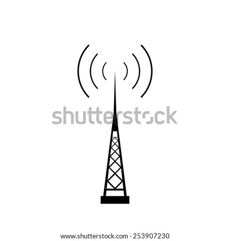 Broadcasting antenna with signal waves on white background. Vector EPS10. - stock vector