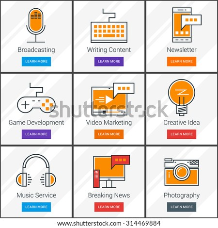 Broadcasting, Video and Music Service, News, Mass Media Content Concept. Flat Design Concept. Set of Vector Web Banners - stock vector