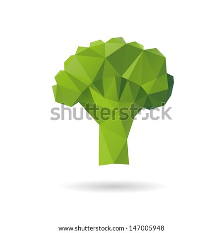 Broccoli abstract isolated on a white backgrounds - stock vector