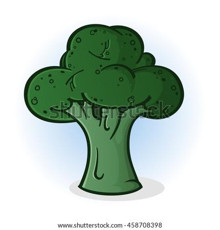 Broccoli Cartoon Illustration - stock vector