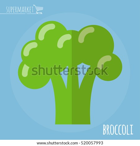 Broccoli.  Long shadow flat design vector icon.