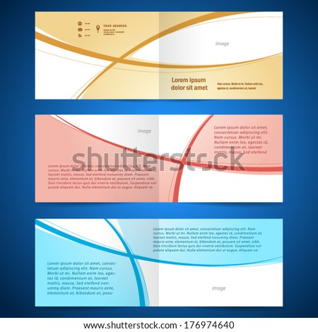 brochure album design template booklet curve line - stock vector