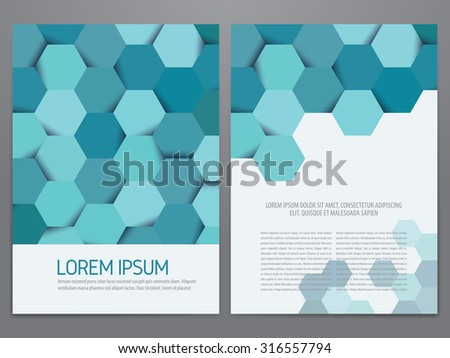 Brochure, annual report, flyer, magazine cover vector template. Modern hexagon pattern corporate design. - stock vector