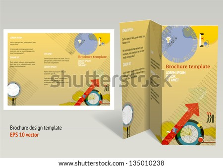 brochure booklet z fold layout editable design template eps10 vector transparencies used