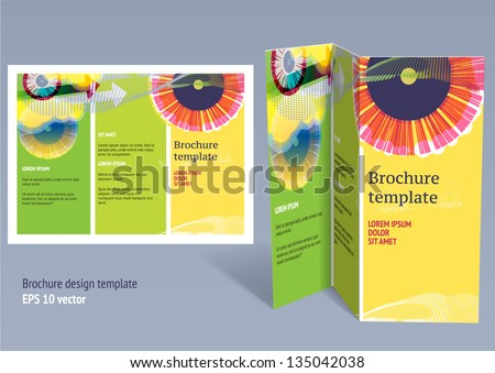 Brochure, booklet z-fold layout. Editable design template. EPS10 vector, transparencies used. - stock vector
