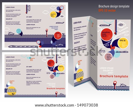 Brochure, booklet z-fold 2-sides layout. Editable design template. EPS10 vector, transparencies used. - stock vector