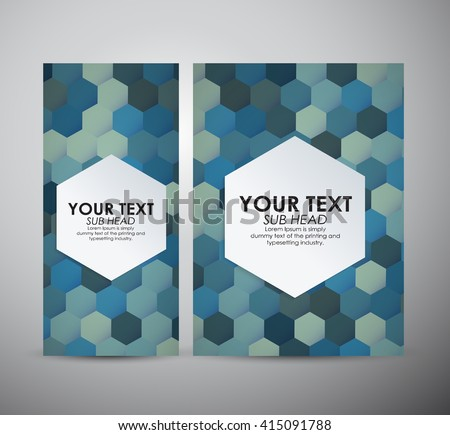 Brochure business design Abstract blue Hexagon pattern background.