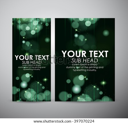 Brochure business design Abstract green bokeh background.